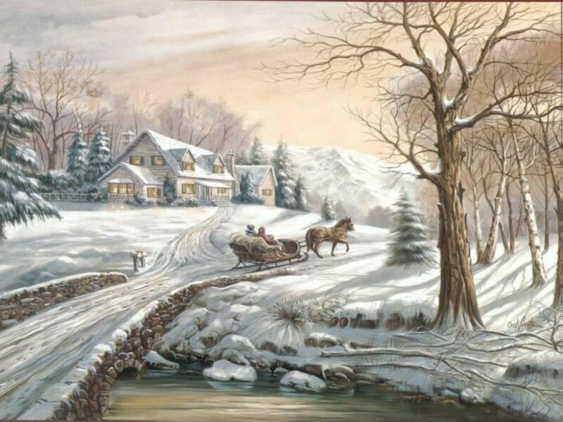 Dessins des paysages - Paysage enneige dessin ...